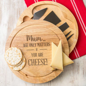 Personalised Age Only Matters Cheese Board + Knife Set - personalised mother's day gifts