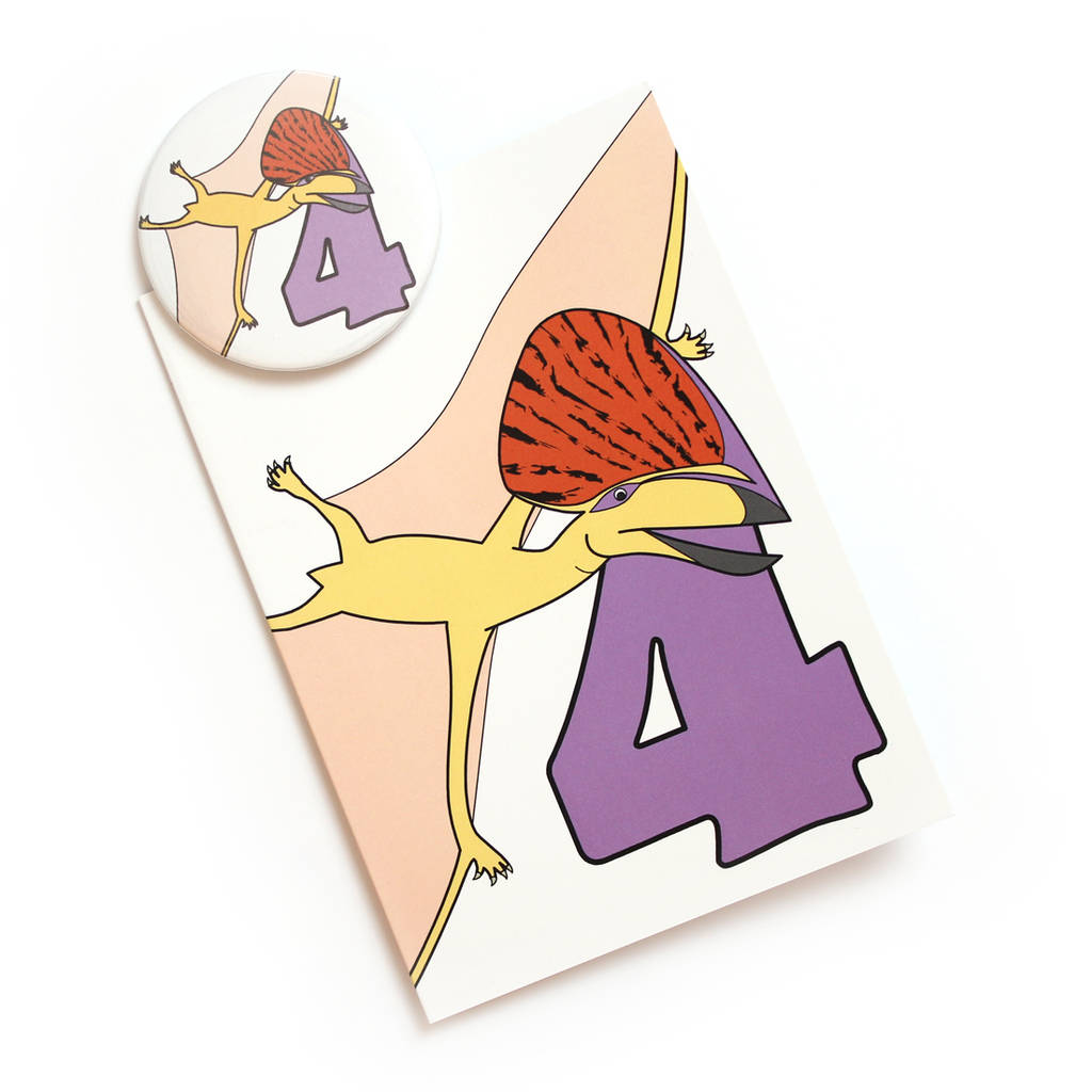 Number Four Card And Badge Set
