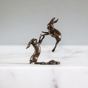 Miniature Bronze Boxing Hares Statue - sculptures