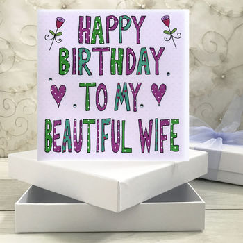 Personalised Wife Birthday Book Card