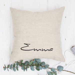 Embroidered Natural Linen Cushion - bedroom