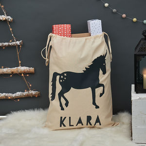Personalised Unicorn Christmas Sack - view all decorations