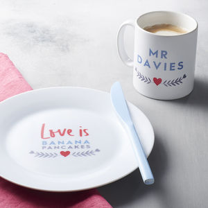 Personalised Love Is Mug And Plate - love is real