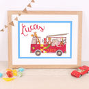 Children's Fire Engine Print