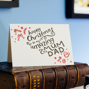 To My Mum And Dad Letterpress Christmas Card