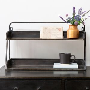Two Shelf Desk Tidy Antique Black And Brass
