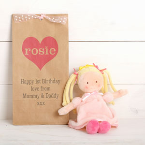 Blonde Plush Dolly With Personalised Gift Bag