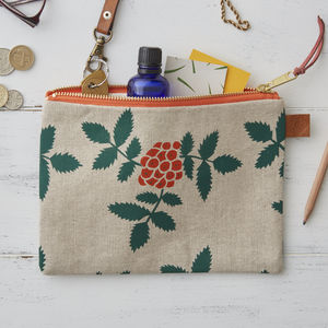 Rowan Berry Botanical Linen Zipped Purse - bags & purses