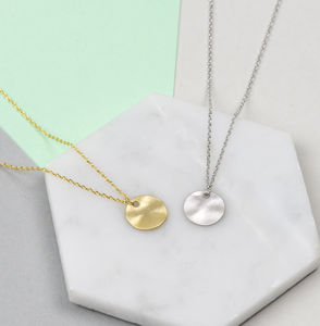 Minimal Hammered Coin Necklace