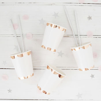 Rose Gold Scallop Foil Party Cups