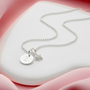 Personalised Celeste White Topaz Star And Disc Necklace