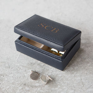 Personalised Intials Leather Cufflink Box - for him