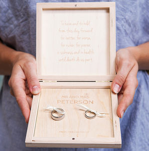 Personalised Heart Couples Wedding Ring Box - wedding ring pillows