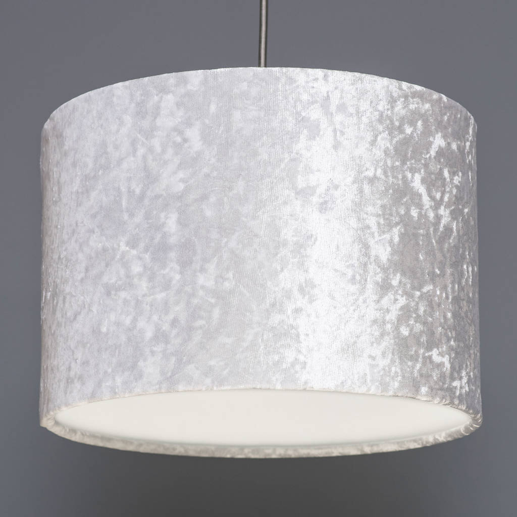 White crushed velvet effect drum lampshade by quirk white crushed velvet effect drum lampshade aloadofball Images