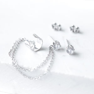Sterling Silver Ear Cuff And Chain With Sparkly Studs