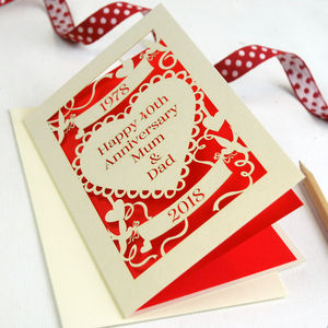 Personalised Papercut Ruby Wedding Anniversary Card - anniversary cards