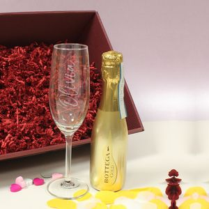 Bottega Gold Prosecco Gift Set With Personalised Flute - wines, beers & spirits