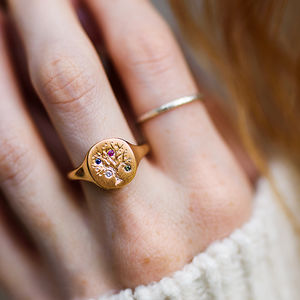 Family Tree Signet Ring With Birthstones - gifts for her