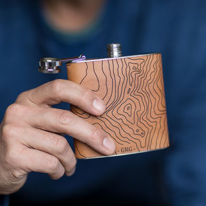 Custom Topography Hip Flask - 30th birthday gifts