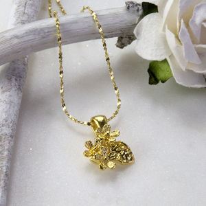 Gold Plated Sterling Silver Flower Necklace
