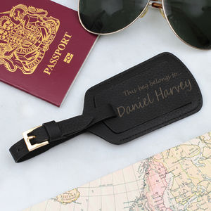 Luxury Italian Leather Personalised Luggage Tag - gifts for travel-lovers
