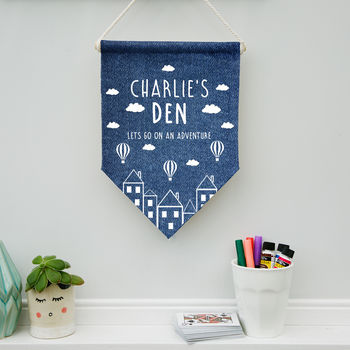 Personalised Child's Denim Hot Air Balloon Pennant