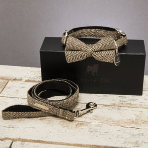 The Beaufort Tweed Dog Collar Bow Tie And Lead Set - dogs