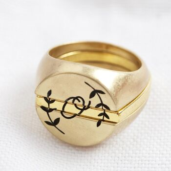 Personalised Three Part Signet Ring In Gold