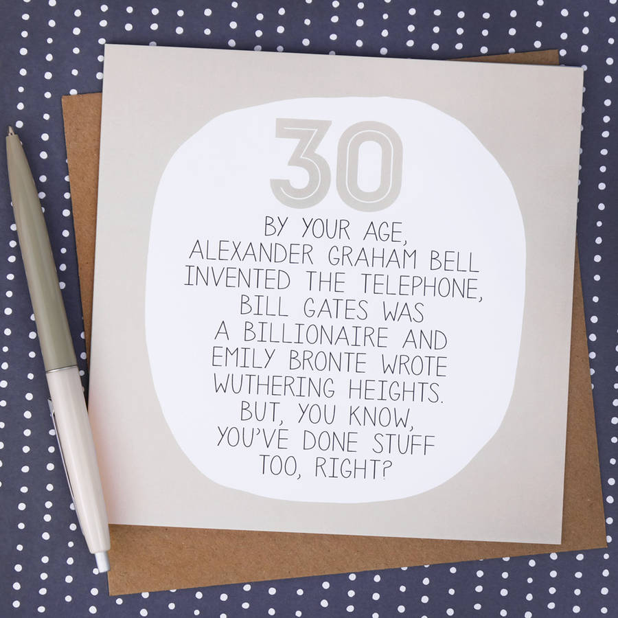 By Your Age Funny 30th Birthday Card Paper Plane