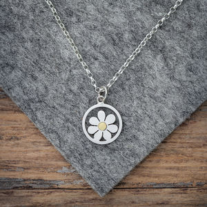 Forget Me Not Pendant Necklace In Silver And 18ct Gold