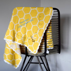 Personalised Knitted Bee Baby Blanket - baby care
