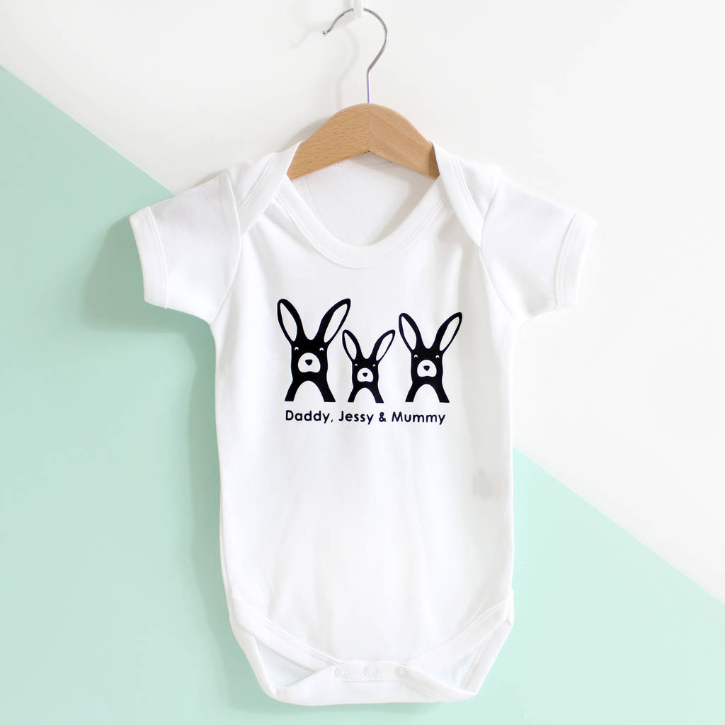 b2013501c easter bunny family, personalised babygrow or t shirt by heather ...