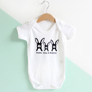 Rabbit Family, Personalised Baby Grow Or T Shirt - clothing