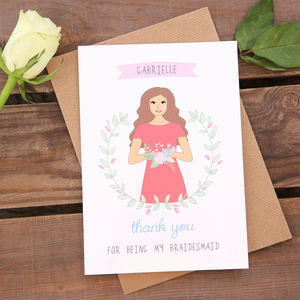 Bridesmaid Personalised Thank You Or Will You Be Card - bridesmaid cards