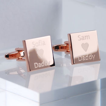 Personalised Rose Gold Love Daddy Cufflinks