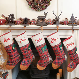 Personalised Set Of Five Patchwork Tartan Stockings - stockings & sacks