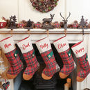 Personalised Set Of Five Patchwork Tartan Stockings