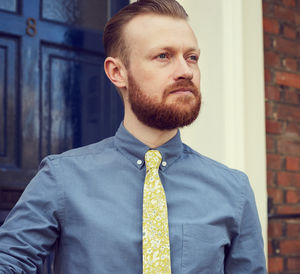 Lime Yellow Floral Slim Tie