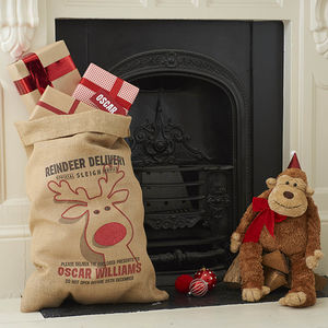 Personalised Rudolph Christmas Sack With Glitter Nose