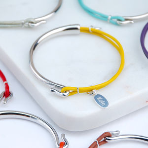 Personalised Sofia Silver And Leather Bangle - shop by occasion