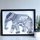 Hand Drawn Elephant Print