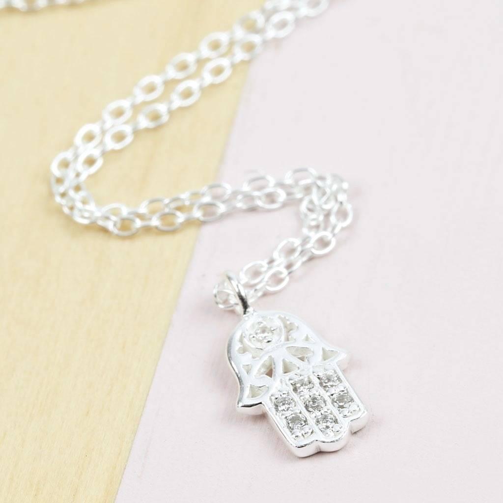 Sterling Silver Cubic Zirconia Hamsa Hand Necklace