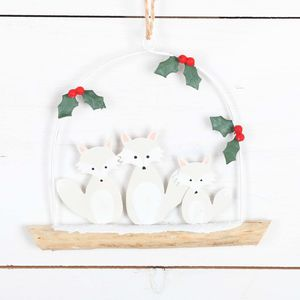Artic Fox Family On Driftwood Christmas Decoration