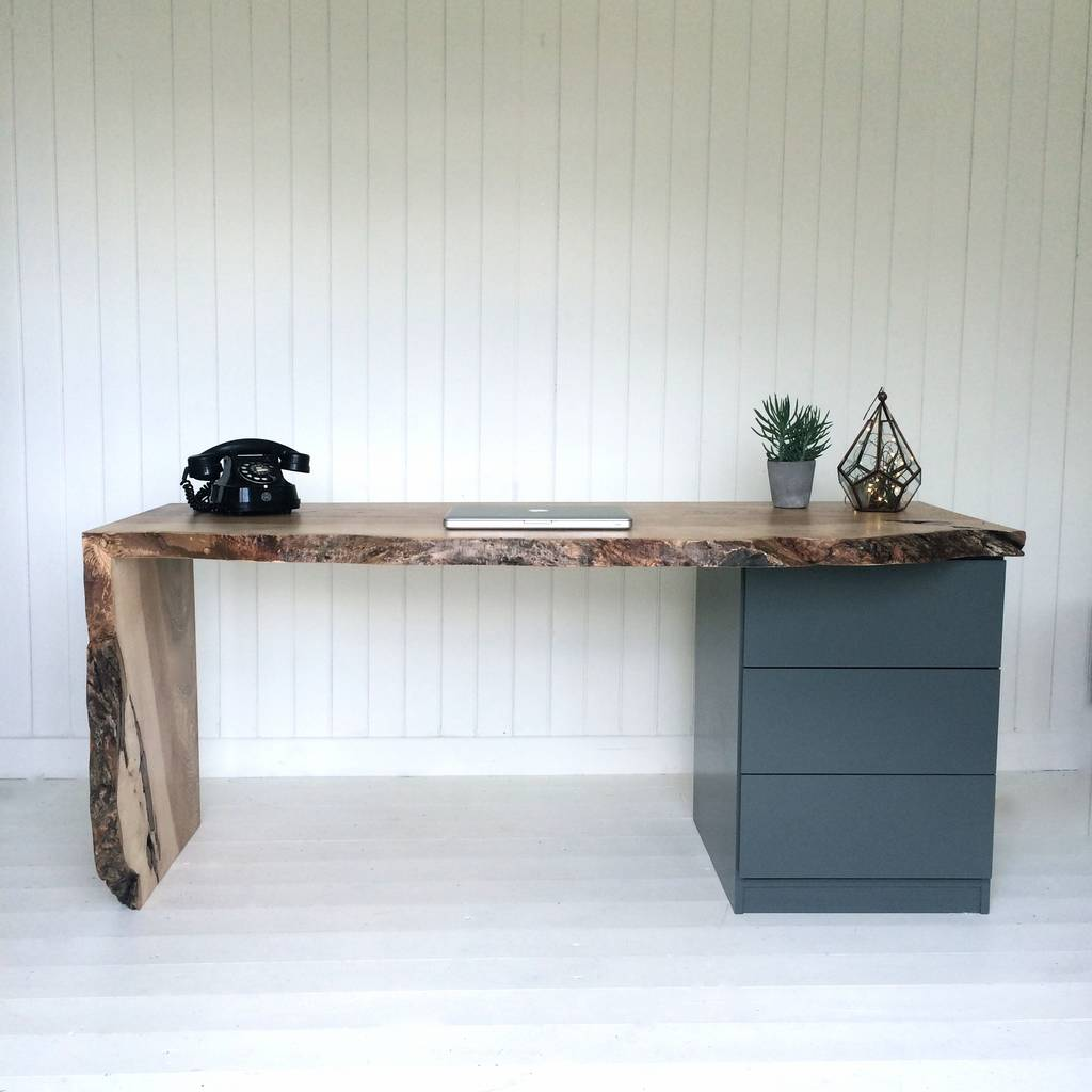 Oak Waterfall Desk With Drawers
