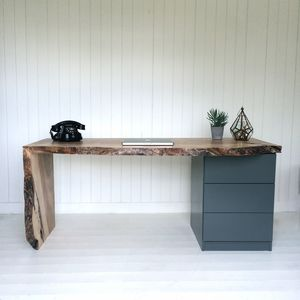 Oak Waterfall Desk With Drawers - office & study