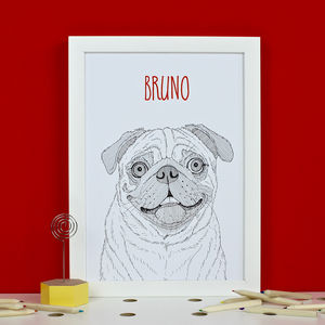 Personalised Pug Print - animals & wildlife