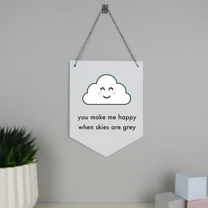 'You Make Me Happy' Cloud Hanging Card Wall Flag - door plaques & signs