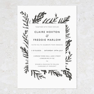 Monochrome Fern Wedding Invites - invitations