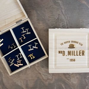 Personalised Dapper Grandad Club Cufflink Box - cufflink boxes & coin trays