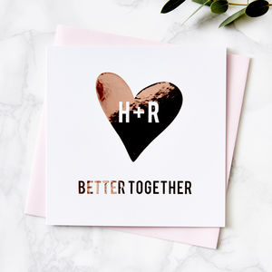 Metallic Personalised Heart Card - engagement cards